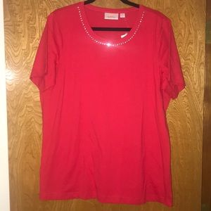 Quicker Factory red with rhinestone detail T-shirt